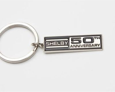 Shelby 50th Anniversary Rectangle Badge Plaque Key Chain Ford Mustang Svt 2012
