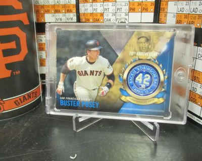 SAN FRANCISCO GIANTS CATCHER BUSTER POSEY COMMEMORATIVE PATCH CARD DISPLAY!