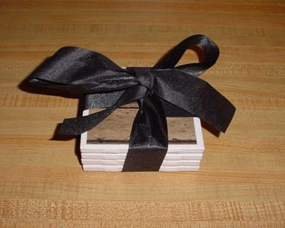 New Set Of 4 Barnwood Ceramic Tile Coasters With Felt Feet Backings. Beautifully Bowed For A Gift! $10