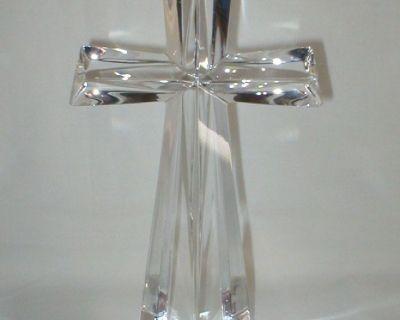 "24% LEAD CRYSTAL CROSS Fine Bohemian Crystal - 7 1/2"" Tall - Czech Republic"