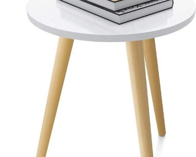 Round White Modern End Table, Side Table, Nightstand - New! -