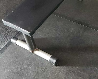 Solid flat bench with rogue bench pad.