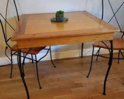 Metal & Wood Table and Four Chairs