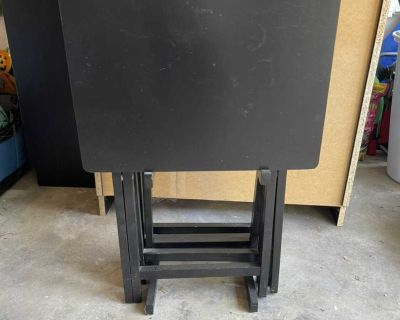 Black TV tray tables set of 4