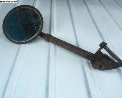 Driver side round truck mirror patina single cab