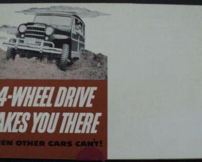 1950 4 Wheel Drive Willys Station Wagon Brochure Hurricane Engine Jeep Overland