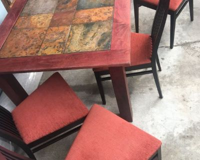 Wood and Tile Square Dinning Room Table and Chairs