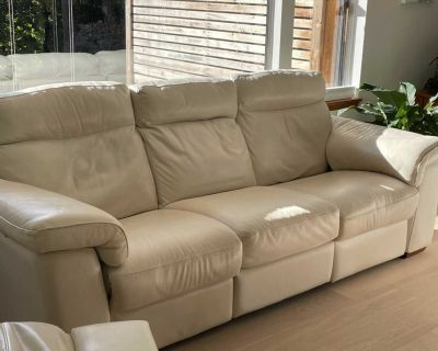 Natuzzi Leather Power-Reclining sofa and chair