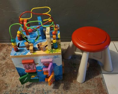 ACTIVITY WOOD CUBE TOY AND BABY CHAIR