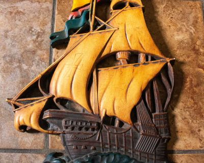 Vintage 70 s Chalk Ware Galleon Ship Hanging 3D Wall Plaque