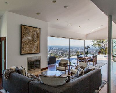 West Hollywood hills home with jetliner views of downtown, Griffith Park and the ocean, Los Angeles, CA