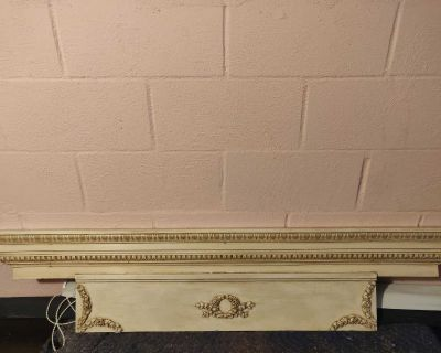 Wood Stained Long Antique Shelf