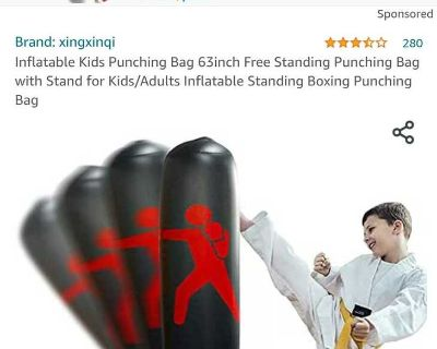 Inflatable kids/adults punching bag. Free standing. Black & Red New!