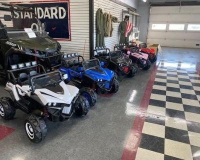 NEW 12V RIDE ON YOUTH UTV'S, STANDAR FEATURES INCLUDE LED LIGHTS, MANUAL OR REMOTE