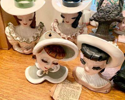 Bassinet, Ceramic Betty Lou Hat s, Antq Curio/Desk w/ 4 Rnd Pedestal Tbl + 4 Chairs, Fireplace,Beds