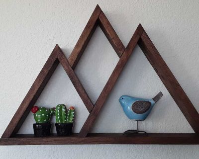 Stained wood mountain shelf