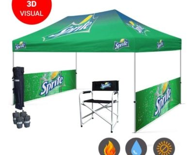 Canopy Tent 10x20 with Table covers, Custom Flags ,Banners
