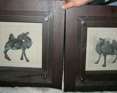 vintage chinese bronze tang dynasty style camel statues in shadow box (pair)