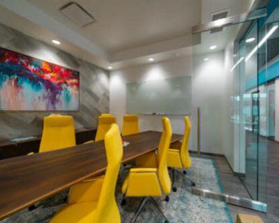Colorful 8 Person Conference Room w/ TV + Whiteboard, Dallas, TX