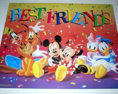 "Disney Mickey Mouse ""Best Friends""  VintagePoster - 16"" x 20"""