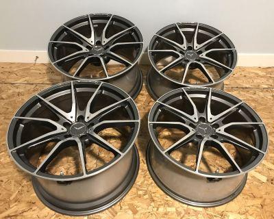 Mercedes Benz AMG GT R Factory wheels 19x10, 20x12 graphite machined.