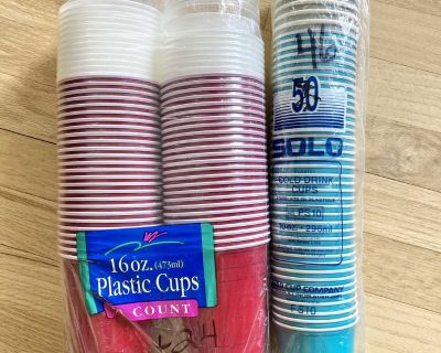 120-Count New Cups in Red, Clear & Turquoise 16 oz. & 10 oz. - Sold Together