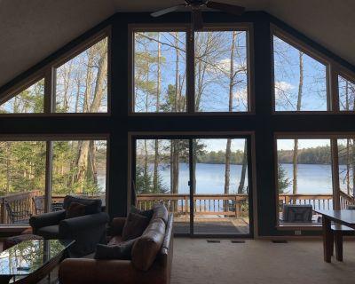 Beautiful Lake Naomi Views: Lakefront Home w Private Beach, Fire Pit - Pocono Pines