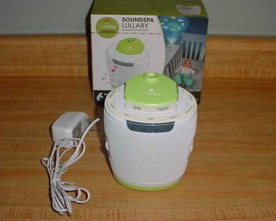 Gently Used My Baby Homedics Soundspa Lullaby Complete With 3 Projection Image Discs. Features 6 Soothing Sounds: Twinkle, Twinkle...
