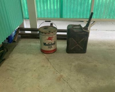 Antique Mobil-oil and Army Gas Can