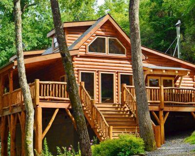 CREEKSIDE LOG HOME: NEXT TO CREEK / CLOSE TO TOWN / HOT TUB / TRAILS / PETS OK - Black Mountain