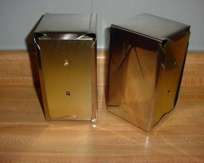 New Set Of 2 Tall-Fold Two-Sided Stainless Steel Tabletop Napkin Dispensers With Rubber Feet Bottoms. $5