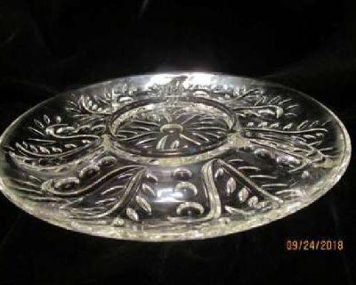 Vintage Cut Glass Divided Platter