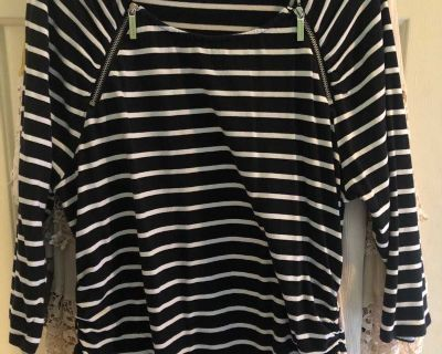 Black and white striped Michael Kors top $2