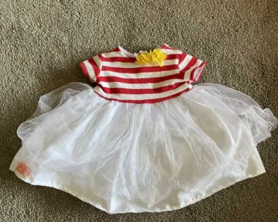 Red & white striped dress with accessories for 18 doll