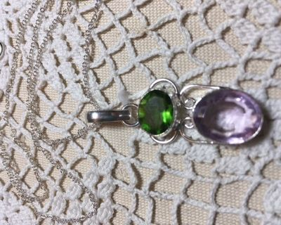 image 0 image 1 image 2 ??zoom Pendant on Sterling Silver Chain Fabulous Amethyst and Peridot St...
