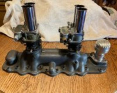VINTAGE OFFENHAUSER 2X2 FLATHEAD INTAKE ON 399 CARB TOPS 180 EACH