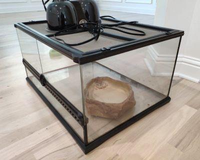 Terrarium and combo IR/UV lamp for tortoises & lizards