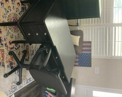 Three piece office furniture set (desk, tall and short bookshelves) with free chair!