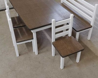 Kids table, 4 chairs 1 bench