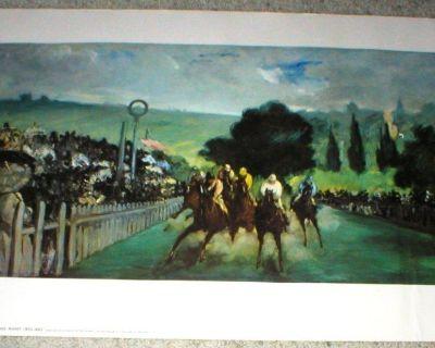Horse Racing - RACES AT LONGCHAMP Art Print by Edouard Manet - 1800's