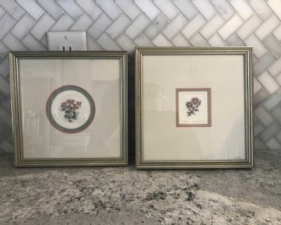Pair of matted watercolor floral pictures