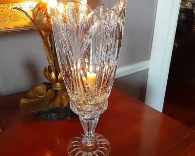 Crystal taper candle holder, two piece.
