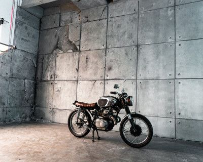 Urban Concrete Loft with Rusted Corner, 1967 Motorcycle, RGB LED reflective wall, London Red Phone Booth, Wood Barn Doors & Wine Barrels - Hill 8, Los Angeles, CA