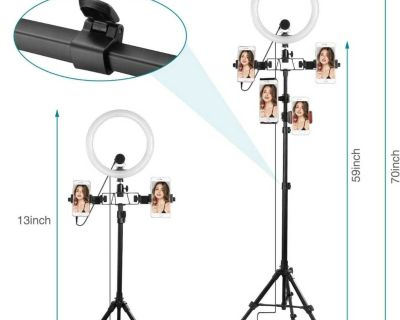 """10"""" Upgraded LED Selfie Ringlight with Microphone and Tripod Stand ( NOTE CROSSPOSTED)"""