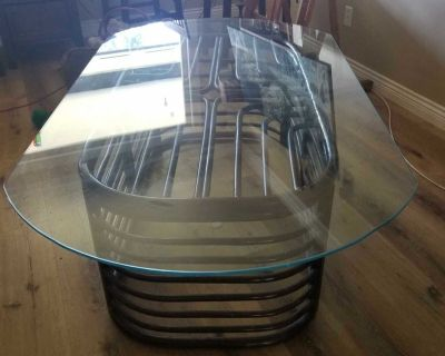 Heavy Thick Glass Top & Rattan Coffee Table