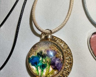 Rotating Glass Crescent Gold Pendant with Dried Flowers Necklace