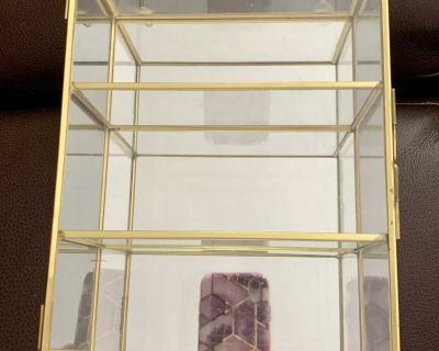 Vintage Mirrored Brass and Glass Curio Cabinet