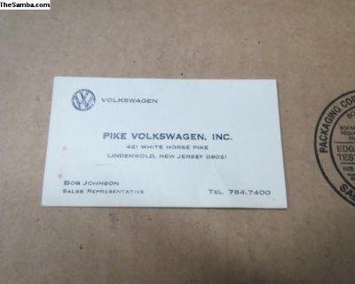 Original Pike Volkswagen Salesman Business Card