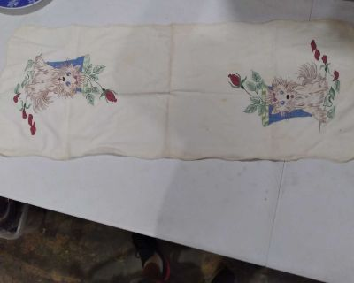 Vintage Embroidered Terriers Table Cover