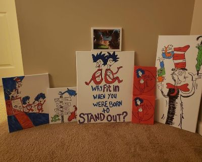 Dr Suess and Pok mon canvases
